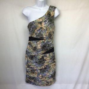 NIKIBIKI  Dress Multi Color Floral One Shoulder M